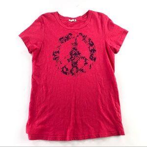 Sundry peace sign pink shirt